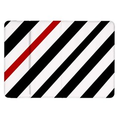 Red, Black And White Lines Samsung Galaxy Tab 8 9  P7300 Flip Case by Valentinaart