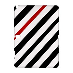 Red, Black And White Lines Samsung Galaxy Note 10 1 (p600) Hardshell Case by Valentinaart