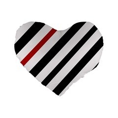 Red, Black And White Lines Standard 16  Premium Flano Heart Shape Cushions by Valentinaart