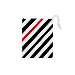 Red, Black And White Lines Drawstring Pouches (xs)  by Valentinaart