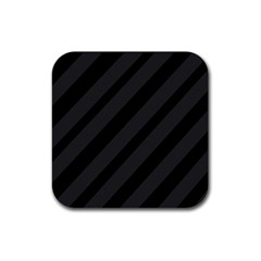 Gray And Black Lines Rubber Coaster (square)  by Valentinaart