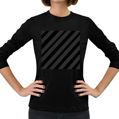 Gray And Black Lines Women s Long Sleeve Dark T Shirts by Valentinaart