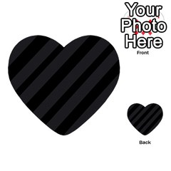 Gray And Black Lines Multi Purpose Cards (heart)  by Valentinaart