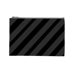 Gray And Black Lines Cosmetic Bag (large)  by Valentinaart