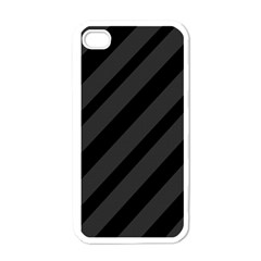 Gray And Black Lines Apple Iphone 4 Case (white) by Valentinaart