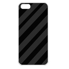 Gray And Black Lines Apple Iphone 5 Seamless Case (white) by Valentinaart
