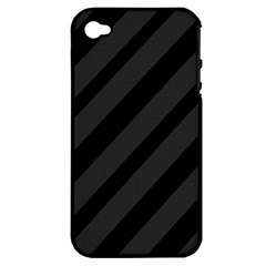 Gray And Black Lines Apple Iphone 4/4s Hardshell Case (pc+silicone) by Valentinaart