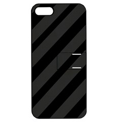 Gray And Black Lines Apple Iphone 5 Hardshell Case With Stand by Valentinaart