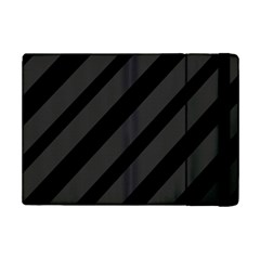 Gray And Black Lines Ipad Mini 2 Flip Cases by Valentinaart