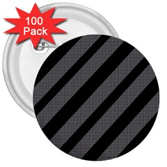 Black And Gray Lines 3  Buttons (100 Pack)  by Valentinaart