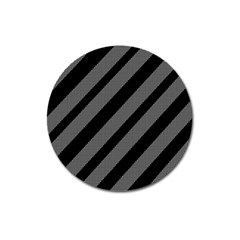 Black And Gray Lines Magnet 3  (round)