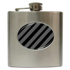 Black And Gray Lines Hip Flask (6 Oz) by Valentinaart