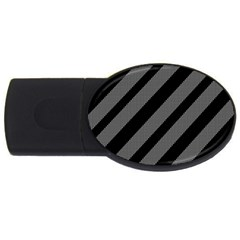 Black And Gray Lines Usb Flash Drive Oval (2 Gb)  by Valentinaart