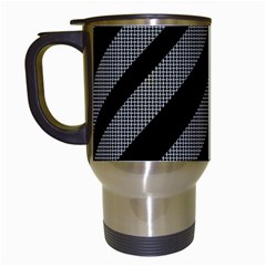 Black And Gray Lines Travel Mugs (white) by Valentinaart