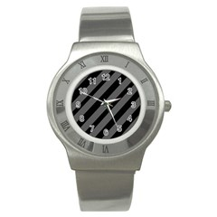Black And Gray Lines Stainless Steel Watch by Valentinaart