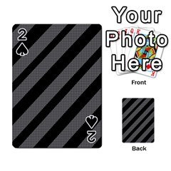 Black And Gray Lines Playing Cards 54 Designs  by Valentinaart