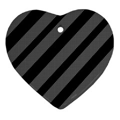 Black And Gray Lines Heart Ornament (2 Sides)