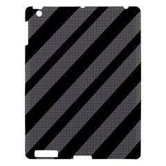 Black And Gray Lines Apple Ipad 3/4 Hardshell Case by Valentinaart