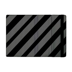 Black And Gray Lines Apple Ipad Mini Flip Case by Valentinaart