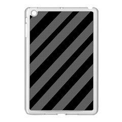 Black And Gray Lines Apple Ipad Mini Case (white) by Valentinaart