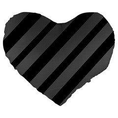 Black And Gray Lines Large 19  Premium Heart Shape Cushions by Valentinaart