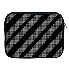 Black And Gray Lines Apple Ipad 2/3/4 Zipper Cases by Valentinaart