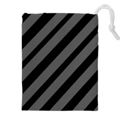 Black And Gray Lines Drawstring Pouches (xxl)