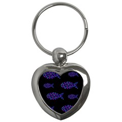 Purple Fishes Pattern Key Chains (heart)  by Valentinaart
