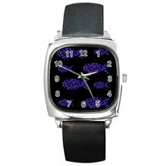 Purple Fishes Pattern Square Metal Watch by Valentinaart