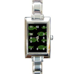 Green Fishes Pattern Rectangle Italian Charm Watch by Valentinaart