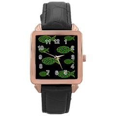 Green Fishes Pattern Rose Gold Leather Watch  by Valentinaart
