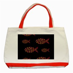 Orange Fishes Pattern Classic Tote Bag (red) by Valentinaart