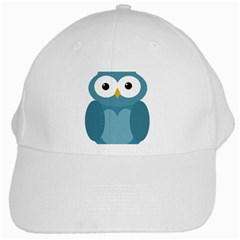Cute Blue Owl White Cap by Valentinaart