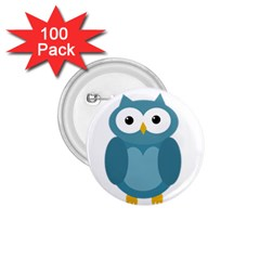 Cute Blue Owl 1 75  Buttons (100 Pack)  by Valentinaart