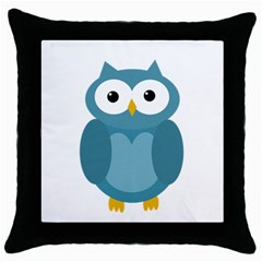 Cute Blue Owl Throw Pillow Case (black) by Valentinaart