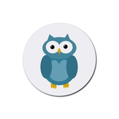 Cute Blue Owl Rubber Round Coaster (4 Pack)  by Valentinaart