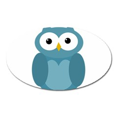 Cute Blue Owl Oval Magnet by Valentinaart