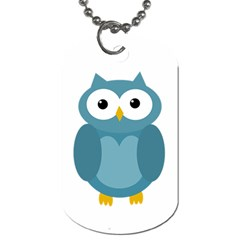 Cute Blue Owl Dog Tag (one Side) by Valentinaart