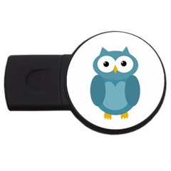 Cute Blue Owl Usb Flash Drive Round (2 Gb)  by Valentinaart