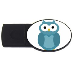Cute Blue Owl Usb Flash Drive Oval (2 Gb)  by Valentinaart