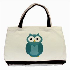 Cute Blue Owl Basic Tote Bag by Valentinaart