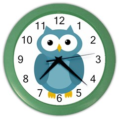 Cute Blue Owl Color Wall Clocks by Valentinaart