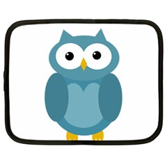 Cute Blue Owl Netbook Case (large) by Valentinaart