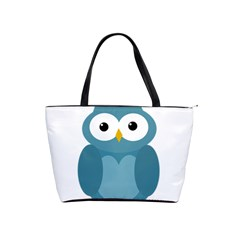 Cute Blue Owl Shoulder Handbags by Valentinaart