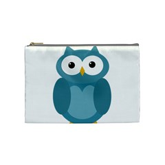 Cute Blue Owl Cosmetic Bag (medium)  by Valentinaart
