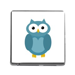 Cute Blue Owl Memory Card Reader (square) by Valentinaart
