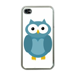 Cute Blue Owl Apple Iphone 4 Case (clear) by Valentinaart
