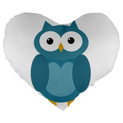 Cute Blue Owl Large 19  Premium Heart Shape Cushions by Valentinaart