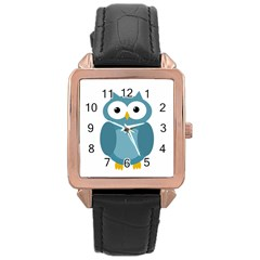Cute Blue Owl Rose Gold Leather Watch  by Valentinaart