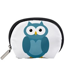 Cute Blue Owl Accessory Pouches (small)  by Valentinaart